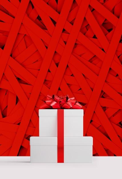 Banner web di buon natale e felice anno nuovo. contenitore di regali bianco e nastro rosso dell'arco sulla striscia di carta rossa casuale. illustrazione di rendering 3d. Foto Premium