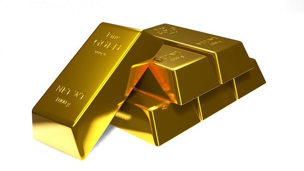 Barra di oro e moneta di oro per l'affare., rappresentazione 3d. Foto Premium