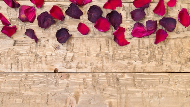 Bei petali di rosa su fondo rustico vintage. vecchie tavole di legno. Foto Premium