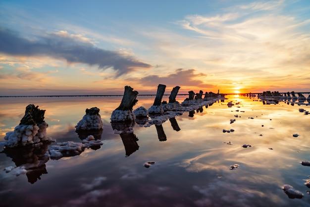 Bel tramonto o alba sopra un lago salato, canapa di legno nell'accumulo di sale dopo l'essiccazione del lago Foto Premium