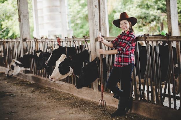 Bella donna asiatica o agricoltore con e mucche in stalla in caseificio. Foto Gratuite