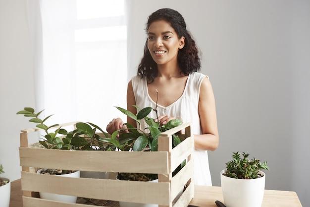 Bella donna che sorride prendendosi cura delle piante in scatola nel luogo di lavoro muro bianco. Foto Gratuite