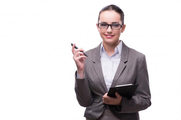 Bella donna di affari elegante nel concetto di affari isolato sopra Foto Premium
