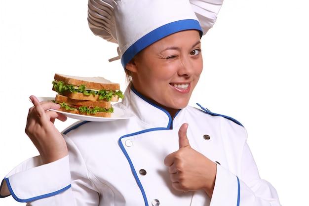 Bella donna in immagine dello chef Foto Gratuite