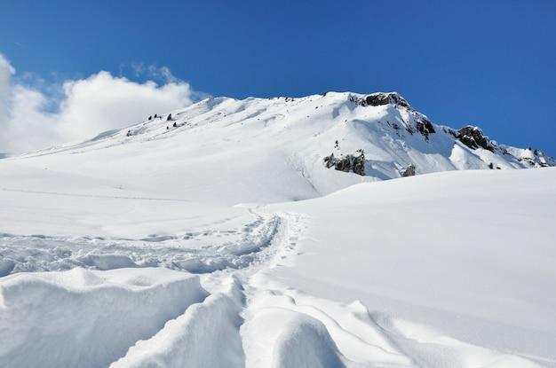 Bella montagna innevata Foto Premium