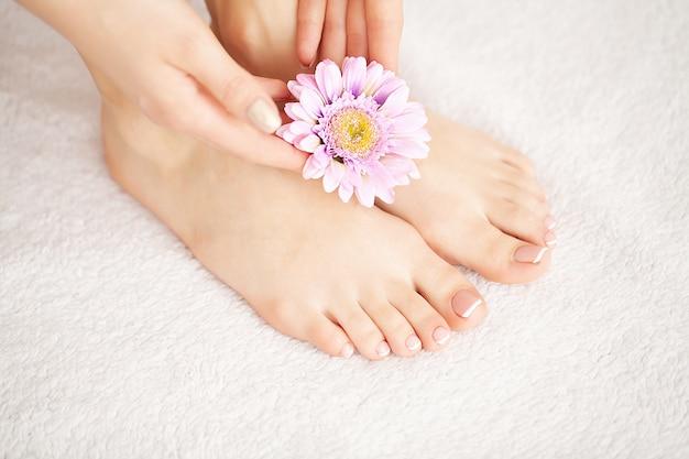 Bella pelle morbida. primo piano delle gambe lunghe donna con perfetta pelle liscia e setosa senza peli. depilazione, concetti di cura del corpo di bellezza Foto Premium