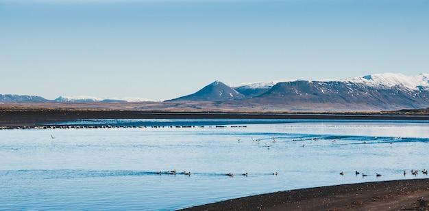 Bella scena di un paesaggio con alte montagne innevate e mare. Foto Premium