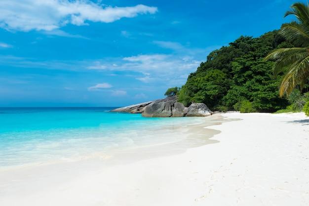Bella vista con cielo blu e nuvole, mare blu e spiaggia di sabbia bianca sull'isola di similan Foto Premium
