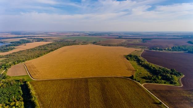 Bella vista di campi agricoli e cielo blu con nuvole bianche. vista aerea. Foto Premium