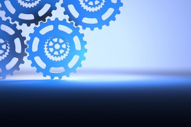 Bellissimo sfondo tecnologico con ingranaggi in blu chiaro e blu scuro Foto Premium