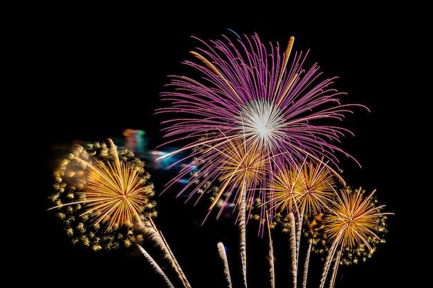 Bellissimo spettacolo pirotecnico colorato di notte per festeggiare Foto Gratuite