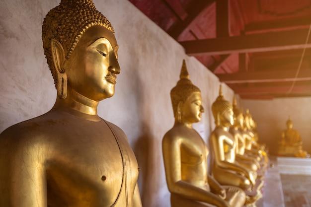 Bello buddha dorato molte statue al wat phra si rattana mahathat Foto Premium
