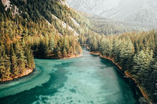 Bello colpo aereo di un fiume blu che funziona in una foresta Foto Gratuite