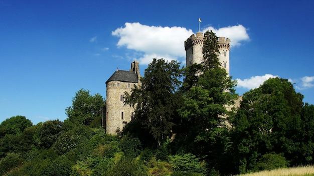 Bello colpo di un castello storico circondato dagli alberi verdi sotto il cielo nuvoloso Foto Gratuite
