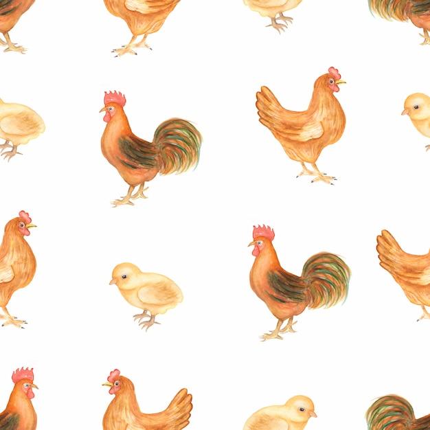 Bello modello senza cuciture d'annata dell'acquerello con gli animali da allevamento. pollo, gallina e uccelli della fattoria. disegnato a mano. Foto Premium