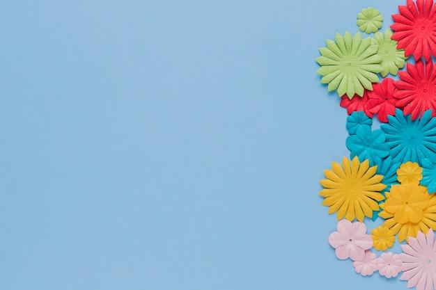 Bello ritaglio variopinto del fiore su fondo blu Foto Gratuite