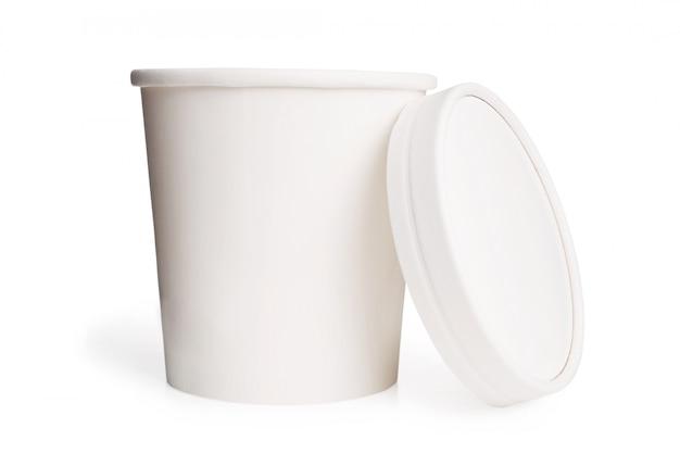 Bicchiere di carta bianco bianco con coperchio Foto Premium