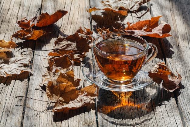 Bicchiere di tè alla luce del sole Foto Premium