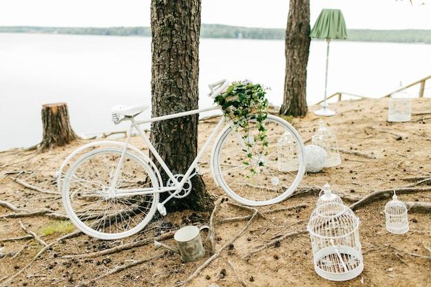 Bicicletta bianca vicino all'albero Foto Premium