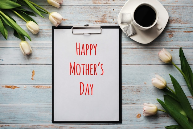 Biglietto di auguri con scritte happy mother's day. Foto Premium