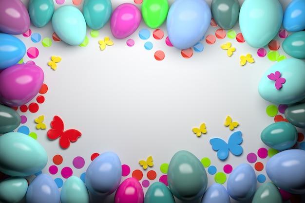 Biglietto di auguri con uova di pasqua colorate a caso lucido con sfondo colorato di farfalle e coriandoli Foto Premium