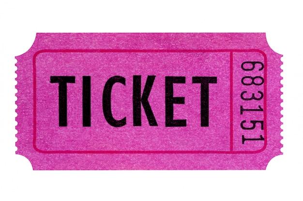 Biglietto viola o rosa isolato su bianco. Foto Gratuite