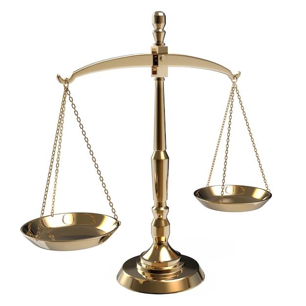 Bilancia della giustizia dell'oro isolata su bianco Foto Premium