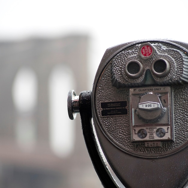 Binocolo sulla riva a manhattan, new york city, usa Foto Premium