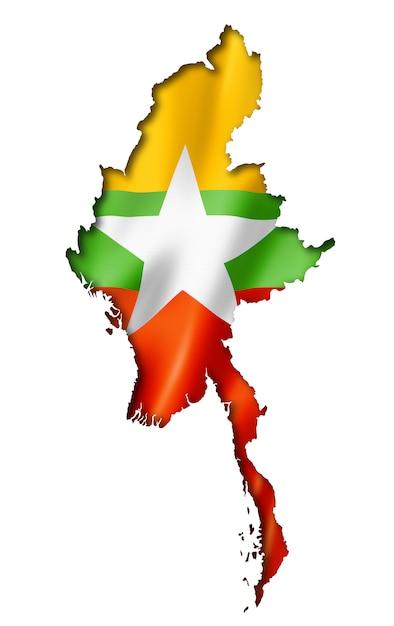 Birmania myanmar flag map Foto Premium