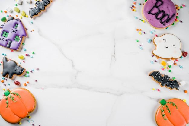 Biscotti e caramelle di halloween Foto Premium