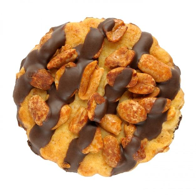 Biscotto con le arachidi isolate su bianco Foto Premium