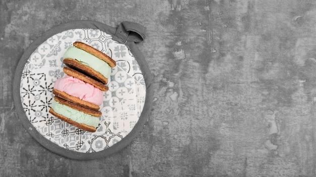 Biscotto di gelati vista dall'alto Foto Gratuite