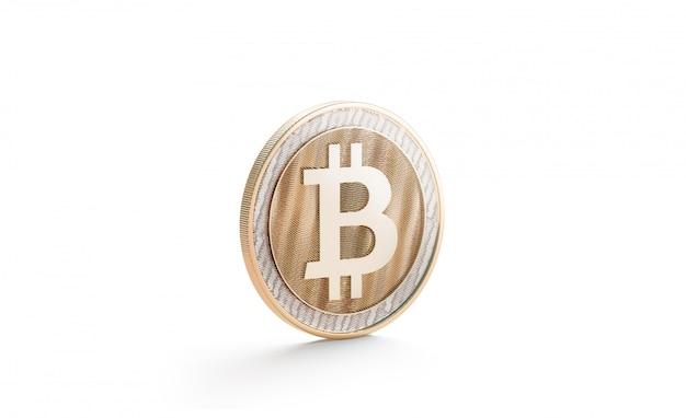 Bitcoin oro bianco mock up, isolato, vista laterale Foto Premium