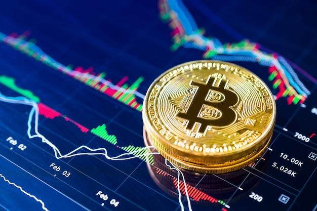 Bitcoin sul concetto di criptovaluta grafico a scala. Foto Premium