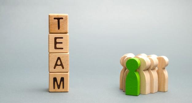 Blocchi di legno con la parola team Foto Premium
