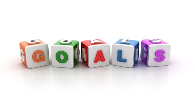 Blocchi di piastrelle con goals word Foto Premium