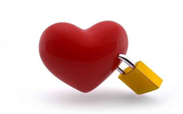 Blocco dell'amore: a forma di cuore con blocco giallo su bianco Foto Premium