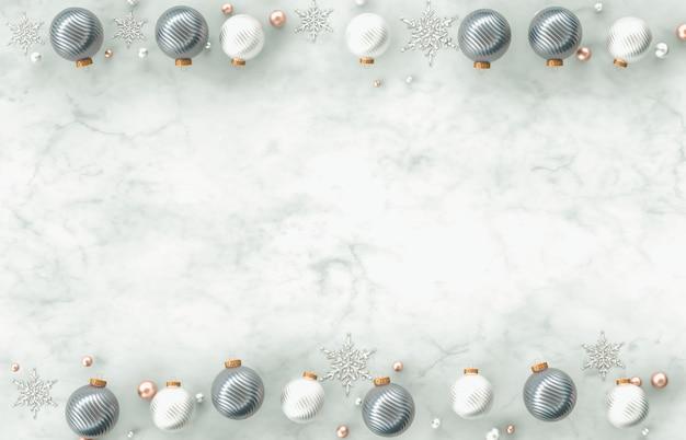 Blocco per grafici del bordo della decorazione di natale 3d con la sfera di natale, fiocco di neve su priorità bassa di pietra di marmo bianca. natale, inverno, anno nuovo. vista piana, vista dall'alto, copyspace. Foto Premium