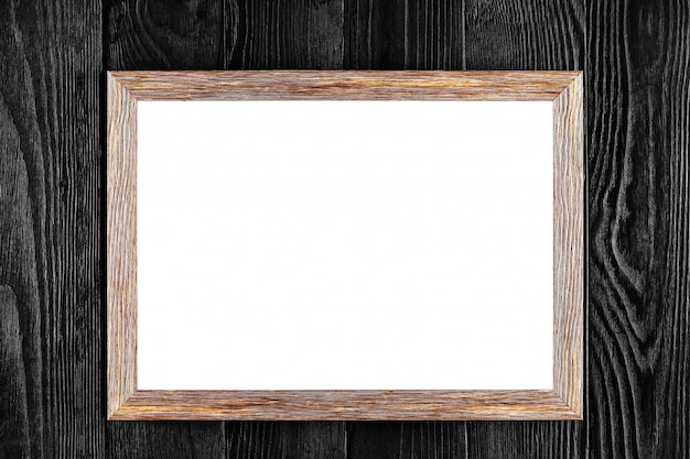 Blocco per grafici di legno del blocco per grafici o della foto isolato sul nero Foto Premium
