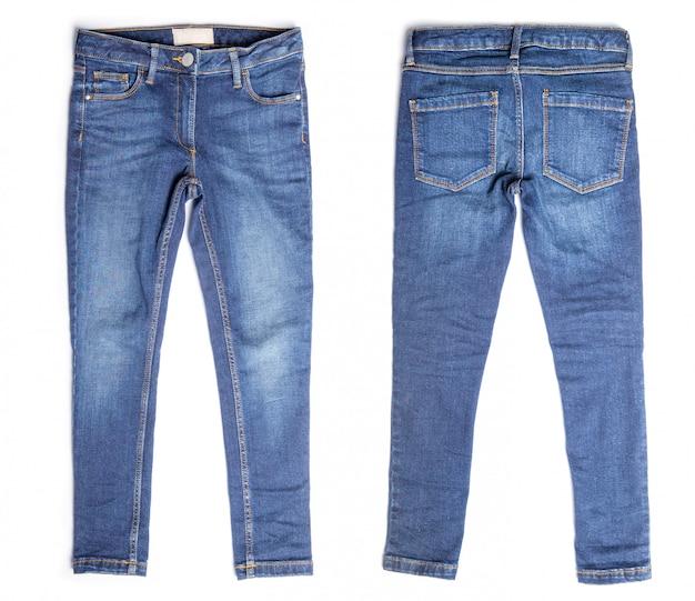 Blue jeans isolate su bianco Foto Premium