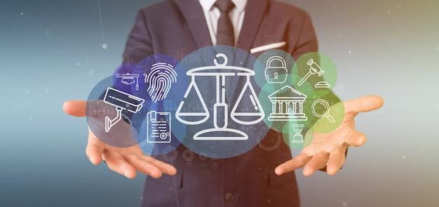 Bolla dell'icona di legge della giustizia e della nuvola della tenuta dell'uomo d'affari con la rappresentazione di dati 3d Foto Premium