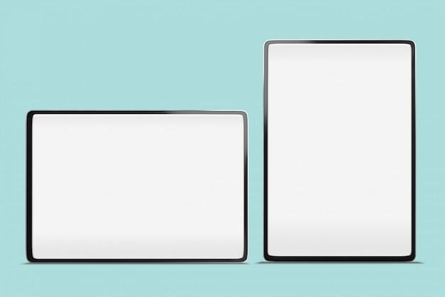 Bordo sottile astuto a schermo intero grande della compressa di digital derisione su fondo con lo spazio della copia e percorso di ritaglio sullo schermo in bianco Foto Premium