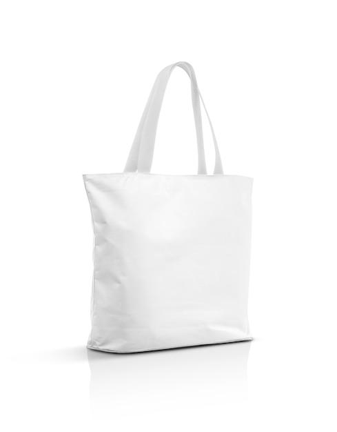 Borsa di totalizzatore bianca in bianco della tela isolata su bianco Foto Premium