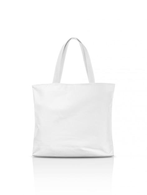 Borsa di totalizzatore della tela in bianco isolata su bianco Foto Premium
