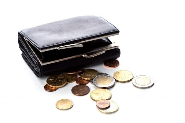 Borsa e monete in euro Foto Premium