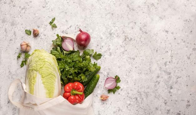 Borsa ecologica per prodotti con verdure Foto Premium