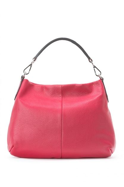 Borsa femminile capiente della borsa sopra un bianco Foto Premium