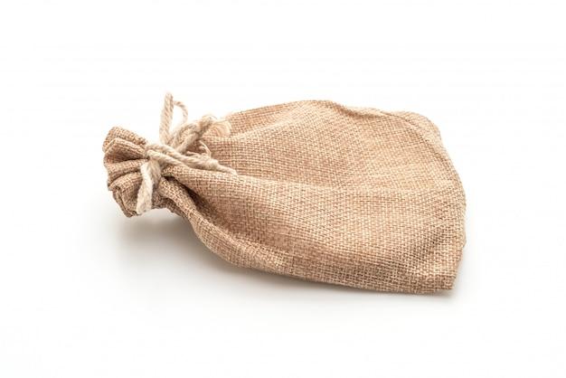 Borsa in tessuto sacco su bianco Foto Premium