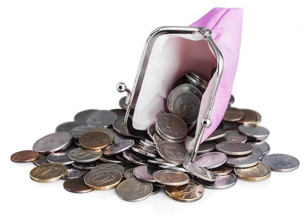 Borsa rosa e rublo monete Foto Premium