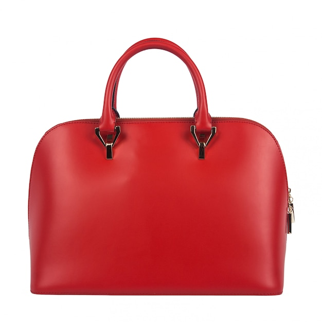 Borsa rossa delle donne isolata Foto Premium